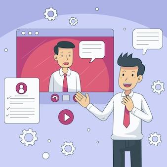 Man met online sollicitatiegesprek