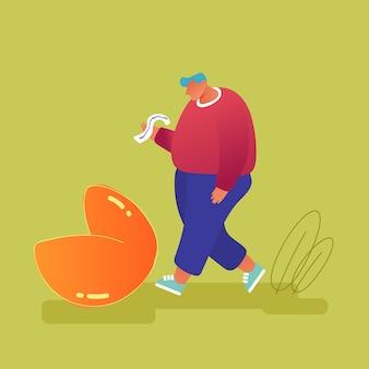 Man met overgewicht staan op enorme fortune cookie lezing prognoses op stuk papier. verrast bericht binnenkant van bak. traditioneel chinees eten, voorspelling voor toekomstige cartoon sdflat