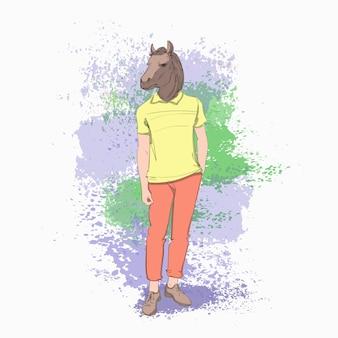 Man met paard hoofd hipster