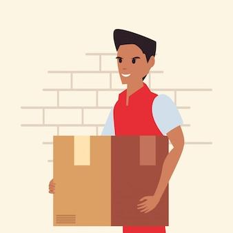 Man met pakket snelle levering logistiek
