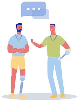 Man met prothetische been praten mannelijke armprothese
