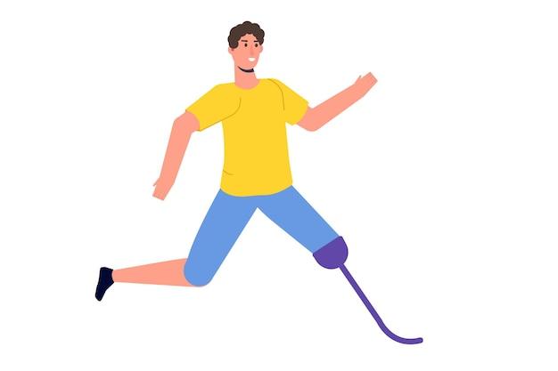 Man met prothetische benen lopen. gehandicapte mensen met een handicap en prothese. karakter met een bionische voet. vectorillustratie vlakke stijl.