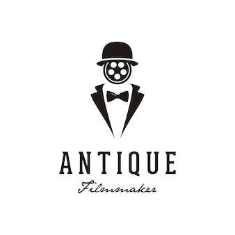 Man met reel film gezicht voor het logo ontwerp van de filmproductie.