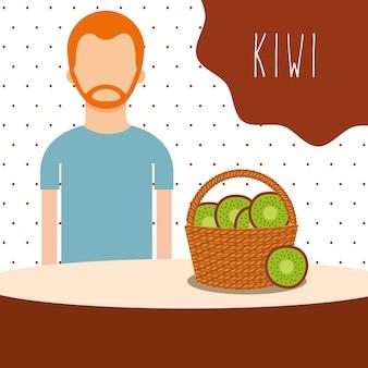 Man met rieten mand gevuld fruit kiwi