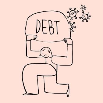 Man met schulden tijdens het element van de coronaviruscrisis