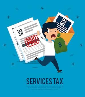 Man met service belastingdocumenten en geld