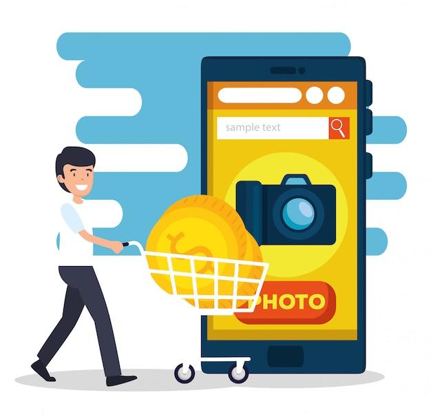 Man met shoppping auto en smartphone website verkopen