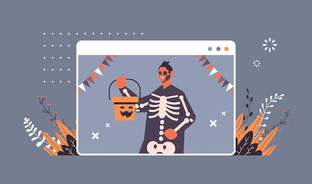 Man met skelet kostuum happy halloween party viering zelfisolatie online communicatie concept web browser venster portret horizontale vector illustratie