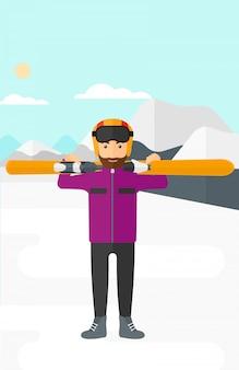 Man met ski's