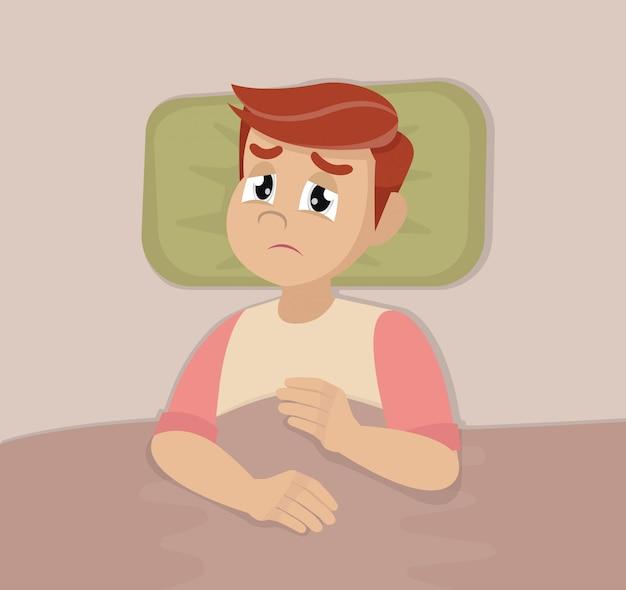 Man met slaapproblemen en slapeloosheid symptomen.