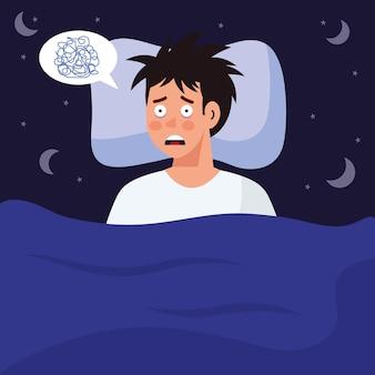 Man met slapeloosheid in bedontwerp, slaap- en nachtthema.