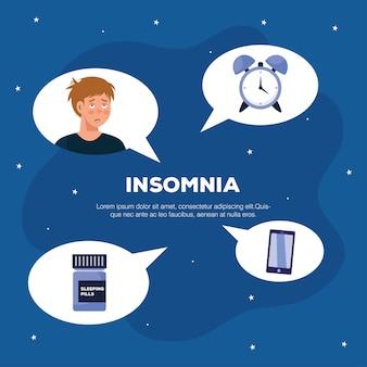 Man met slapeloosheid klok slaappillen en smartphone in bubbels ontwerp, slaap en nacht thema.