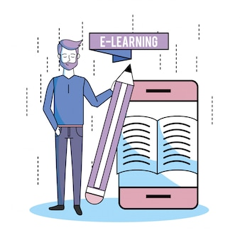 Man met smartphone boeken technologie en potlood