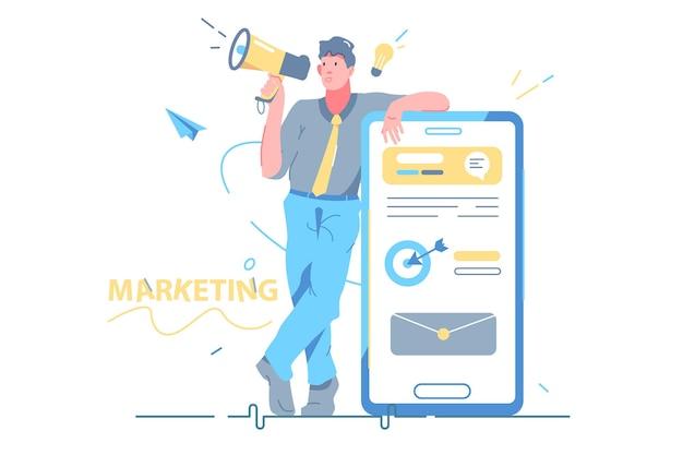 Man met smartphone digitale marketing vectorillustratie. website, bestemmingspagina op vlakke stijl voor mobiele telefoons. verkoop en promotie, mobiel marketingconcept. geïsoleerd op witte achtergrond