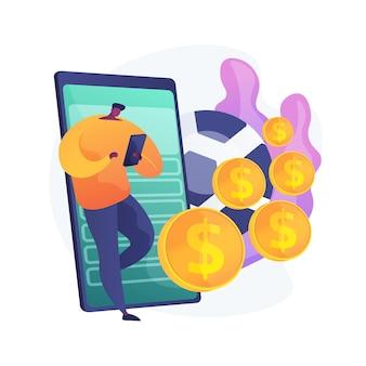 Man met smartphone, gokker die voetbalweddenschappen plaatst. mobiele gokverslaving, applicatie voor sportweddenschappen, voorspelling van voetbalwedstrijdresultaten.
