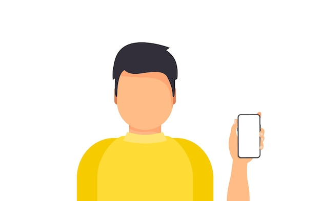 Man met smartphone mobiel. zakelijke smartphone telefoon presentatie concept. mobiele telefoon technologie concept. man die een nieuwe digitale smartphone toont of vasthoudt.