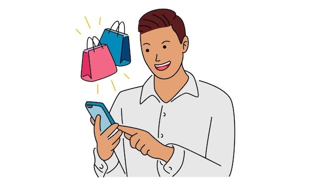 Man met smartphone om online te winkelen