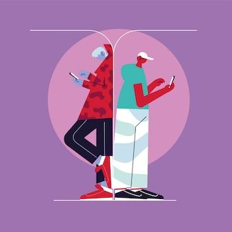 Man met smartphone, sociale media