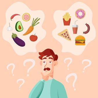 Man met snor denken over gezond en fastfood