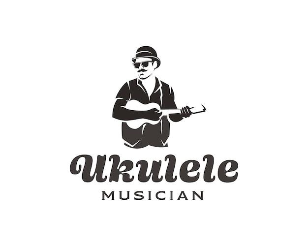 Man met snor en bril die kleine gitaar speelt logo ukelele muzikant logo ontwerpsjabloon
