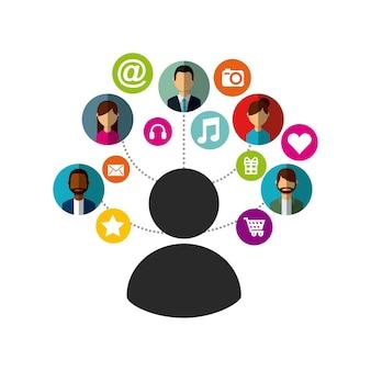 Man met sociale media pictogrammen rond