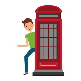Man met stand telefoon verenigd koninkrijk symbool