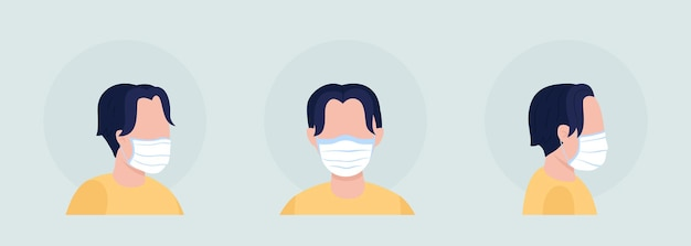 Man met stoffen masker semi-egale kleur avatar set