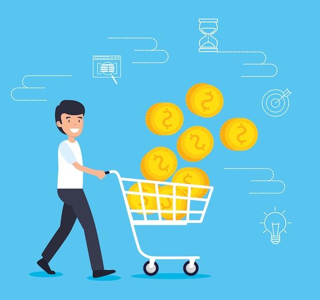 Man met strategie winkelen auto en munten