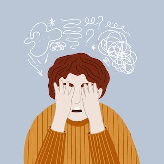 Man met stress, spanning en migraine over zijn gezicht met zijn handen en wanhoop voelen?