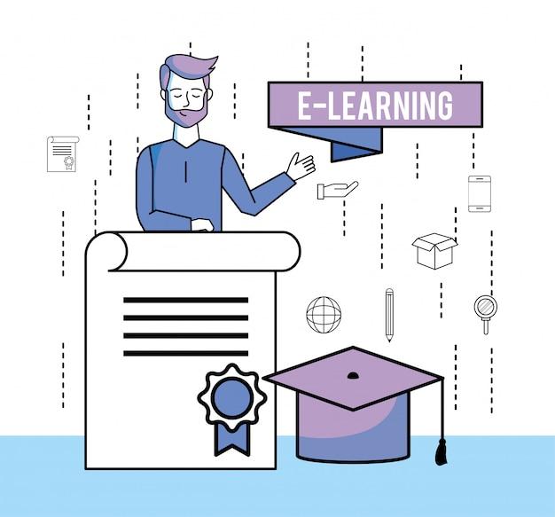 Man met studie certificaat en afstuderen cap