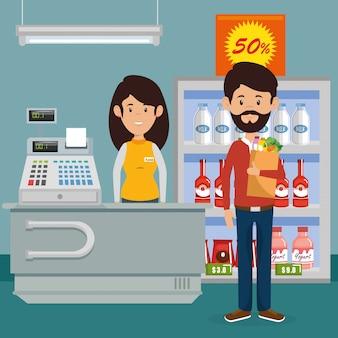 Man met supermarkt boodschappen in boodschappentas