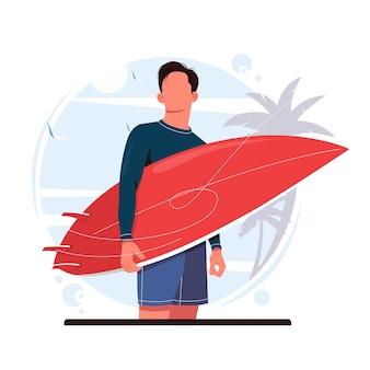 Man met surfplank vectorillustratie