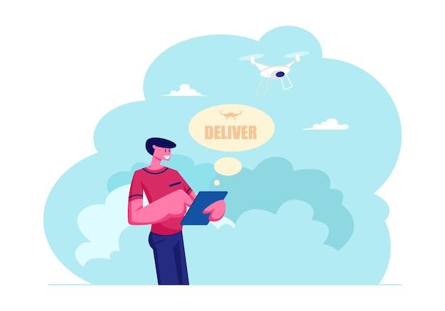Man met tablet controlerende drone pakket bezorgen aan consument