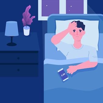 Man met uitputtende slapeloosheid, slaapproblemen. man probeert op bed te slapen.