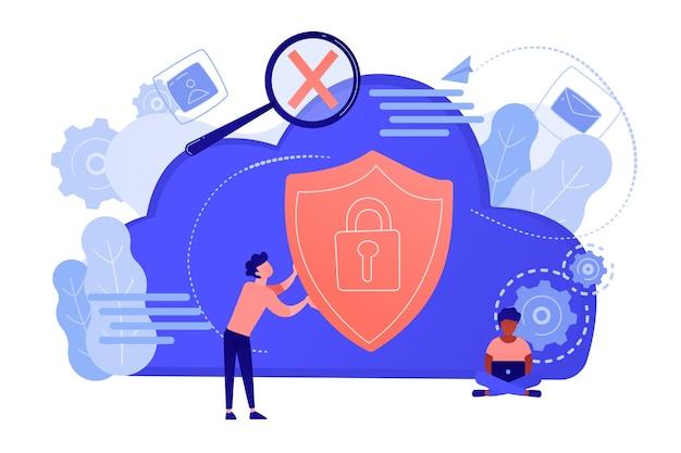 Man met veiligheidsschild en ontwikkelaar met behulp van laptop. bescherming van gegevens en toepassingen, netwerk- en informatiebeveiliging, veilig concept voor cloudopslag. vector geïsoleerde illustratie.