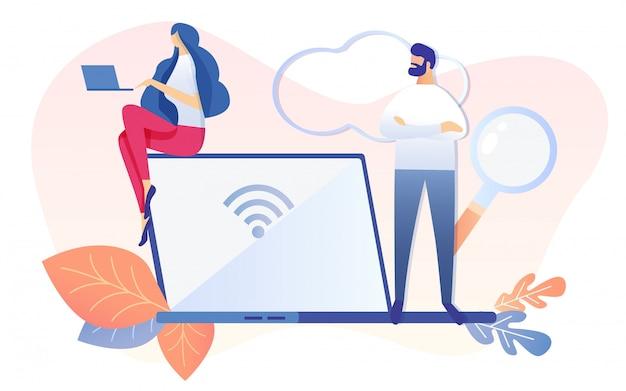 Man met vergrootglas vrouw zit op laptop
