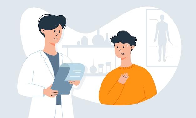 Man met verkoudheidssymptomen - hoesten en hoge temperatuur - op afspraak van de arts. zwakke immuniteit en virale infecties.