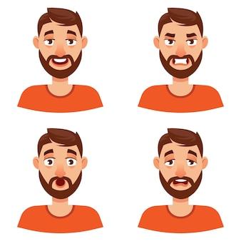 Man met verschillende emoties. mannelijk portret in cartoon-stijl.