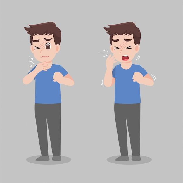 Man met verschillende ziektesymptomen - koorts, hoest, snot.