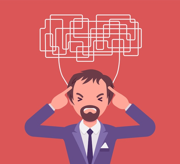 Man met verwarde gedachten die niet in staat zijn om helder na te denken voor een besluit