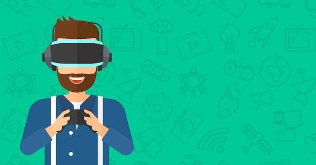Man met virtual reality headset