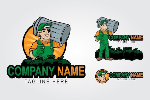 Man met vuilnisset bundels mascotte logo sjabloon voor het verwijderen van rommel