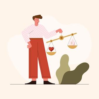 Man met zakelijke ethiek balans