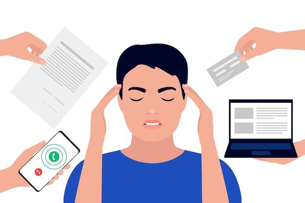 Man moe van stress bij multitasking en overwerkt, houdt hoofdhanden vast vanwege hoofdpijn
