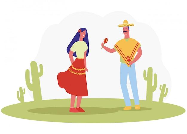 Man moustache in sombrero speel marocas woman dance