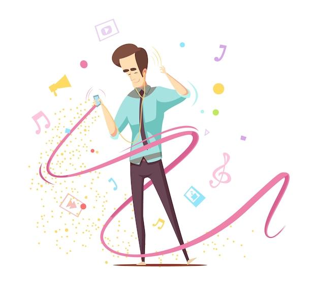 Man muziek luisteren