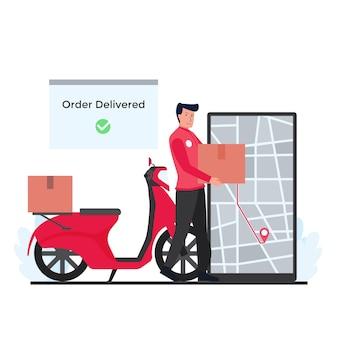 Man naast scooterdoosjes bezorgt pakket naar bestemming op telefoonmetafoor van online volglevering.