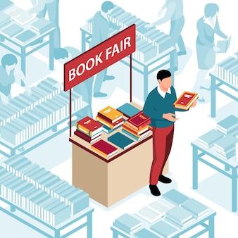Man naast staan met boeken illustratie