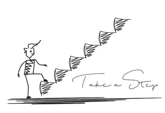 Man nemen volgende stap of prestatie, cartoon hand getrokken vector achtergrond.