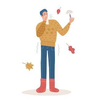 Man niest bedekt met weefsel. coronavirus covid-19 uitbraak concept. mannelijk personage van volledige lengte met een trui en gebreide sokken en een thermometer in de hand. platte vectorillustratie